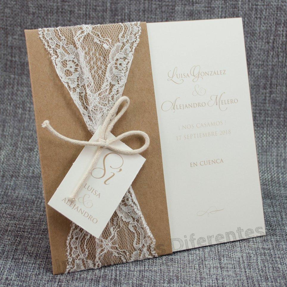 Invitación de boda encaje kraft Belarto 726075