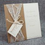 Invitación de boda encaje kraft, Belarto 726075