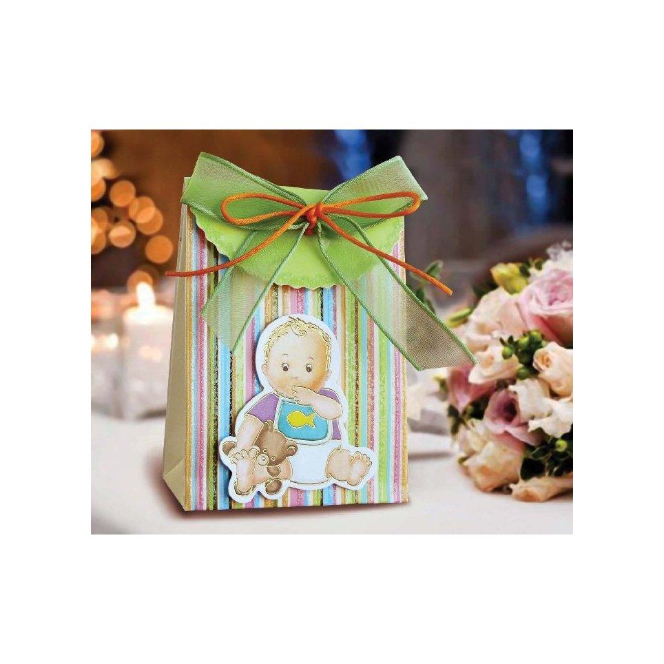 Scatola regalo verde per battesimo Cardnovel 4002