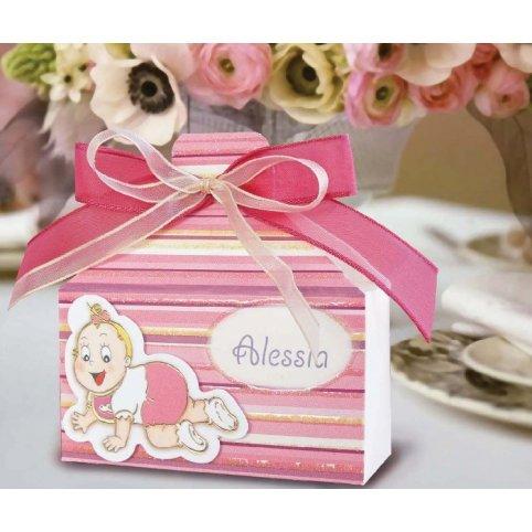 Confezione regalo rosa per battesimo Cardnovel 4003