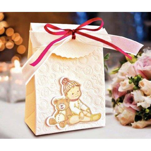 Caja de regalo bautizo niño y oso Cardnovel 4004