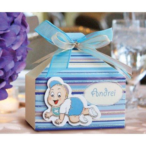Scatola regalo battesimo blu Cardnovel 4005