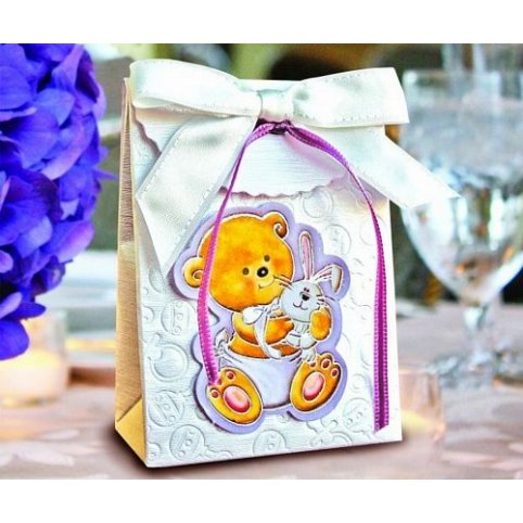 Caja de regalo bautizo oso y conejo Cardnovel 4006