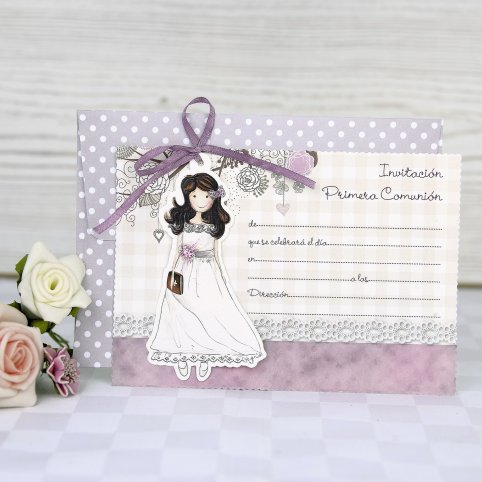 Communion Invitation Girl Bow Cardnovel 208001