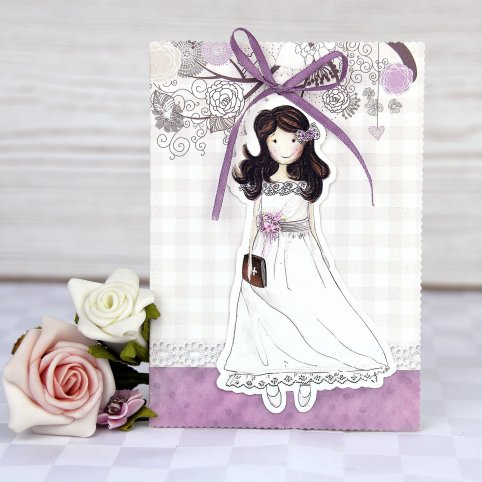 Communion portfolio girl bow Cardnovel 208002