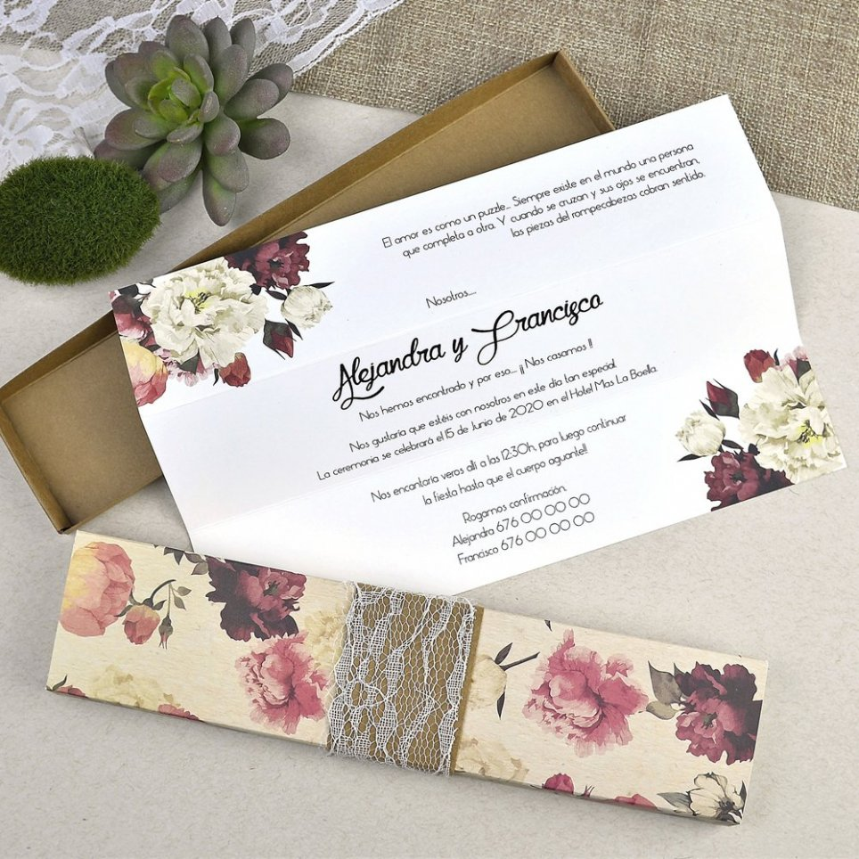 Hochzeitseinladungsblumen mit Spitze Cardnovel 39601