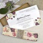 Invitación de boda flores con puntilla Cardnovel 39601