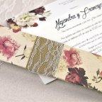 Invitación de boda flores con puntilla Cardnovel 39601 tapa