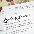 Invitación de boda flores con puntilla Cardnovel 39601 texto
