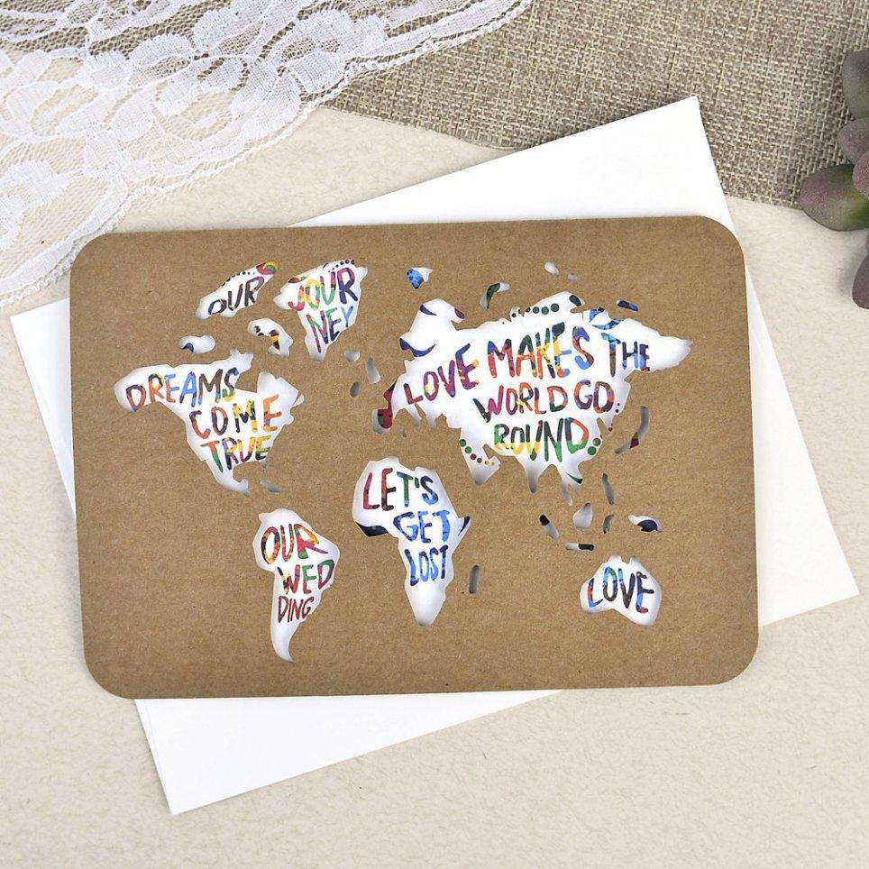 Invitación de boda mapamundi kraft Cardnovel 39602