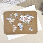 Invito a nozze kraft mappa del mondo Cardnovel 39602