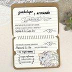 Invitación de boda mapamundi kraft Cardnovel 39602 abierta