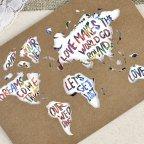 Invito a nozze kraft mappa del mondo Cardnovel 39602 dettaglio