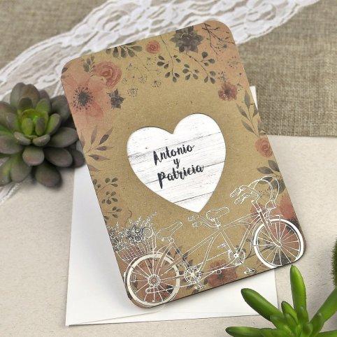 Invitación de boda bicicleta de enamorados Cardnovel 39606