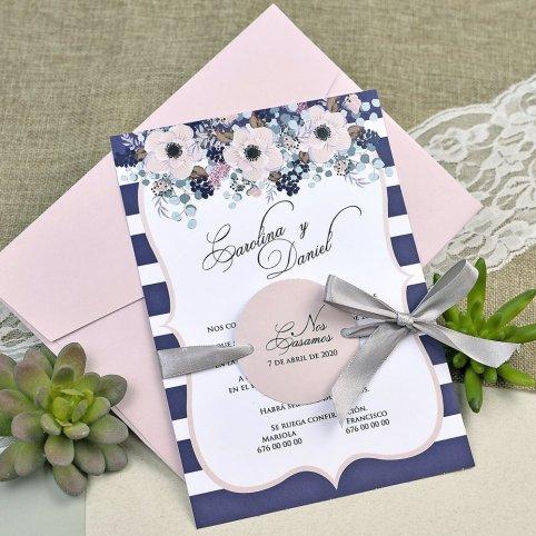Invitación de boda círculo rosa Cardnovel 39609