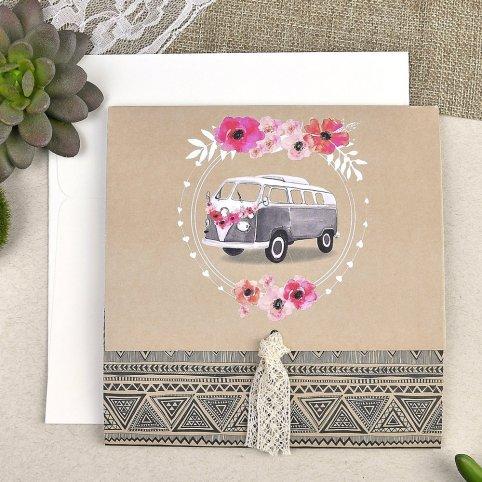 Invitación de boda furgoneta flores Cardnovel 39610