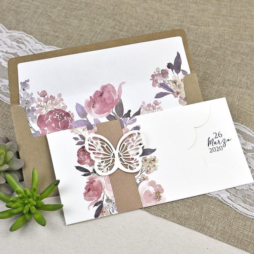 Hochzeitseinladung Schmetterling und Blumen Cardnovel 39611
