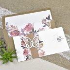Invitación de boda mariposa y flores Cardnovel 39611