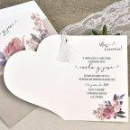 Invitación de boda corazón de pétalos Cardnovel 39612 abierta
