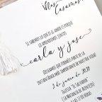 Invitación de boda corazón de pétalos Cardnovel 39612 texto