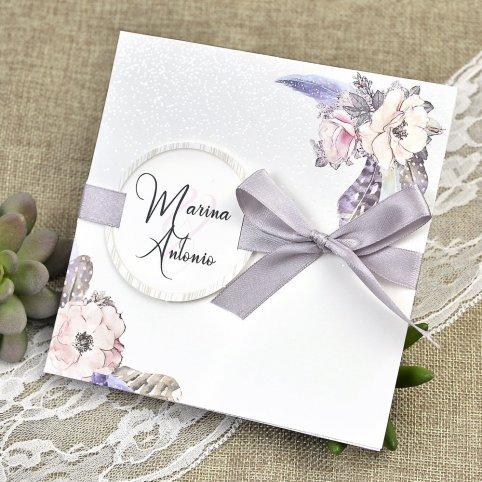 Hochzeitseinladung Schnee und Blumen Cardnovel 39613