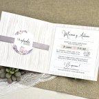 Invitación de boda nieve y flores Cardnovel 39613 abierta