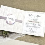 Snow and Flowers Wedding Invitation Cardnovel 39613 Open