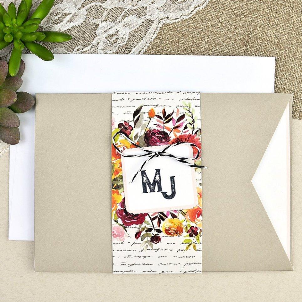 Flower manuscript wedding invitation Cardnovel 39614