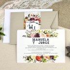 Flower manuscript wedding invitation Cardnovel 39614 open