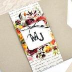 Flower manuscript wedding invitation Cardnovel 39614 detail