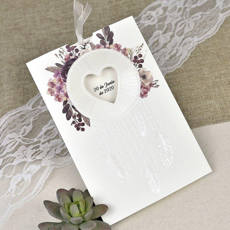 Invitación de boda atrapasueños corazón Cardnovel 39615