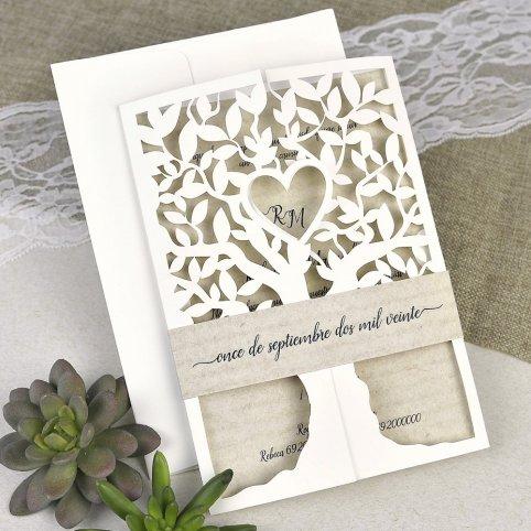 Invitación de boda árbol con corazón Cardnovel 39616