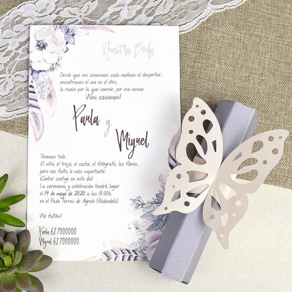 Invitación de boda mariposa pastel Cardnovel 39619