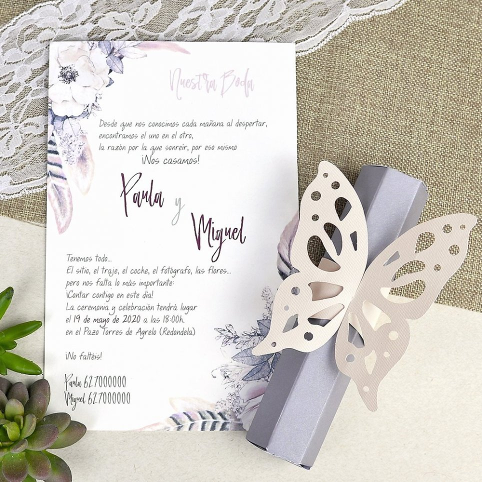 Invito a nozze farfalla pastello Cardnovel 39619