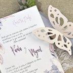 Invitación de boda mariposa pastel Cardnovel 39619 detalle