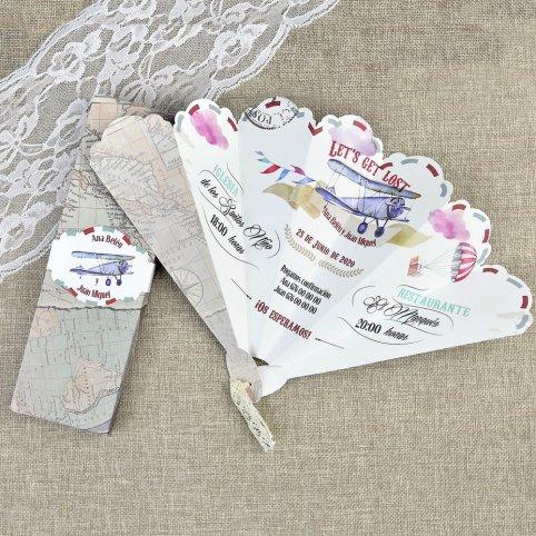 Hochzeitseinladungsflugzeug und Fan Cardnovel 39620
