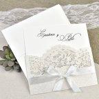 Invitación de boda puntilla y lazo Cardnovel 39621