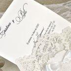 Invitación de boda puntilla y lazo Cardnovel 39621 texto