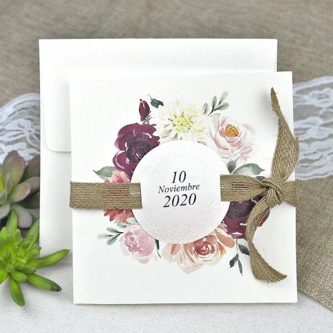 Invito a nozze fiori e sparto Cardnovel 39622