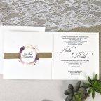 Invitación de boda flores y esparto Cardnovel 39622 abierto