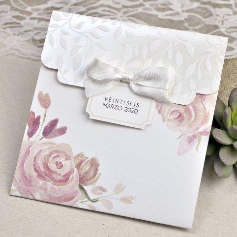 Invitación de boda flores y hojas relieve Cardnovel 39623