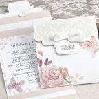 Invito a nozze fiori e foglie rilievo Cardnovel 39623 dettaglio