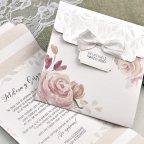Invito a nozze fiori e foglie in rilievo Cardnovel 39623 testo