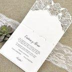 Invitación de boda jardín troquelado Cardnovel 39624 abierta