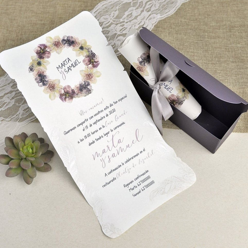 Hochzeitseinladungsbox und Pergament Cardnovel 39627