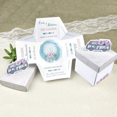 Invitación de boda caja Be Free Cardnovel 39628