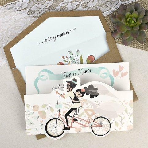 Invitación de boda ciclo tándem Cardnovel 39629