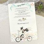 Invitación de boda ciclo tándem Cardnovel 39629 abierta
