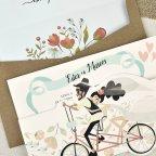 Invitación de boda ciclo tándem Cardnovel 39629 detalle