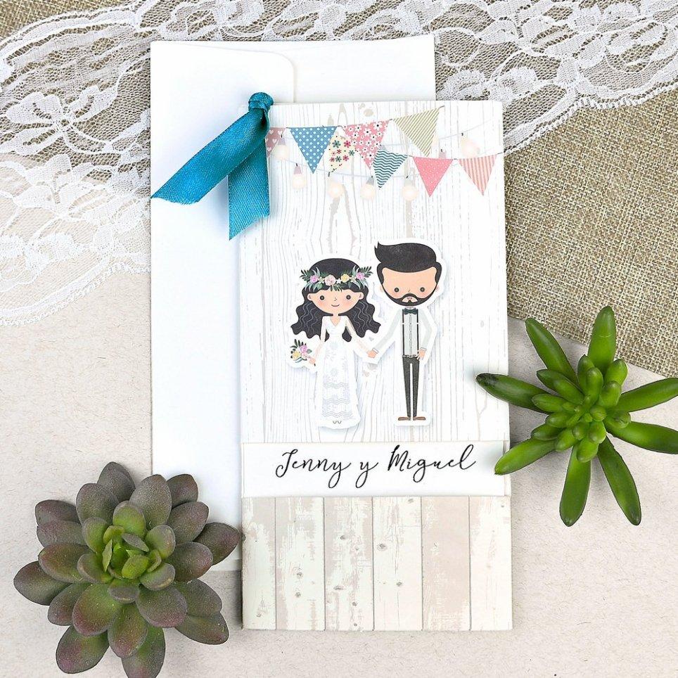 Invito a nozze vintage sposa e sposo Cardnovel 39631 testo